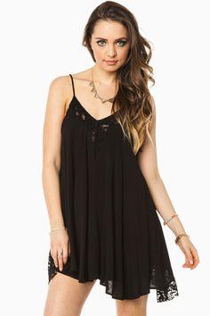 ShopSosie Style : Lace Whisper Dress in Black
