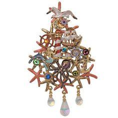 New Kirks Folly Newport Storm Christmas Tree Pin Enhancer Antique Goldtone | eBay