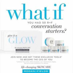 Hello Friends!! What if you joined Rodan+Fields and had 50 ways to start a conversation? 50 samples to give out to get your business rolling? Well that's exactly what you can have!! This is the biggest consultant offer I've seen yet - join my team by February 21st with the $695/$995 kit and get 10 mini eye creams and 40 mini facial packs. 734-626-1838 www.dmoore7.myrandf.biz #dinagetsyouglowingmoore #flipflopsceo #rfgirl