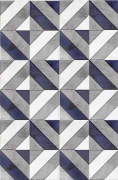 Go bold with our favorite geometric patterned tile, Insight, featured on carrara marble. Use this modern design as bathroom floor tile or as a kitchen backsplash. The dark navy blue shade in this luxury tile will capture the attention of all your guests. Kitchen Wall Tiles, Room Tiles, Bathroom Floor Tiles, Kitchen Flooring, Kitchen Backsplash, Backsplash Ideas, Kitchen Countertops, Blue Backsplash, Kitchen Paint