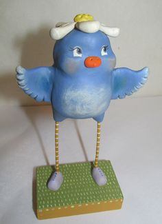 Easter or Spring folk art blue bird with daisy by JanellBerryman, $130.00
