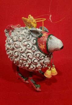 Flying Angel  White Sheep Ornament