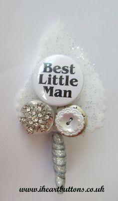 What a cute idea - Best Little Man Button Buttonhole / Boutonnière for Pageboy Wedding Snowflake Sparkle Vintage