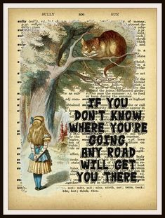 Alice in Wonderland Cheshire Cat Vintage Art Print on Ephemera Dictionary Book Page Background, 8 x Get custom HD vintage art on canvas, posters and printable at an affordable price + fast shipping! Alice And Wonderland Quotes, Alice In Wonderland Party, Caterpillar Alice In Wonderland, Alison Wonderland, Hd Vintage, Chesire Cat, Inspirational Quotes About Success, Inspiring Quotes, Vintage Art Prints