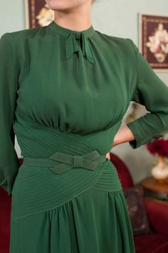 Vintage 1930s Dress Fantastic Later 30s Green Rayon by FabGabs
