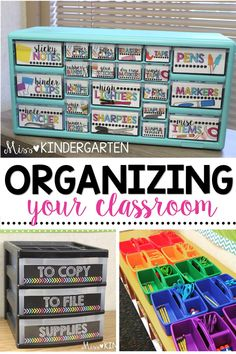 Learn how to be a more organized teacher! These classroom organization ideas wil… Learn how to be a more organized teacher! These classroom organization ideas will help you keep your desks, centers, and supplies organized! Kindergarten Classroom Setup, Miss Kindergarten, Classroom Hacks, 2nd Grade Classroom, Classroom Supplies, Future Classroom, Teacher Supplies, Elementary Teacher, Classroom Design