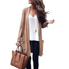 A.F.Y Womens Casual Warm Open Front Long Sleeve Cardigan Sweater Outwear  With Pocket Cardigan Sweaters For 42e0944df