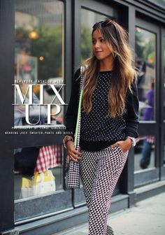 Love her pattern mixing. It's monochromatic with a pop of something.