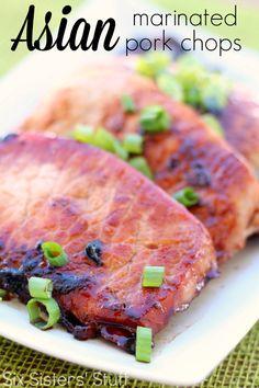 Asian-Marinated-Pork-Chops-Recipe Ingredients: 1 cup soy sauce 1/2 cup brown sugar 2 teaspoons minced garlic 1 teaspoon ground ginger 1 Tablespoon ground cumin 1 teaspoon chili powder 6 boneless pork chops