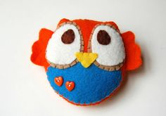 Eco Friendly Plush Owl Toy In Orange And Blue by vivikas on Etsy, $15.00