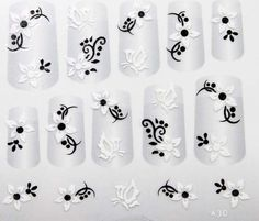 X.T 3D fashion style nail decals nail stickers black leaves and white flower butterfly ** Want additional info? Click on the image.