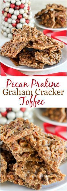 Pecan Praline Graham Cracker Toffee - This melt-in-your-mouth toffee is sweet and salty with a deep brown sugar flavor and a topping of toasted pecans. It's seriously addicting! It comes together in minutes, no candy thermometer needed!