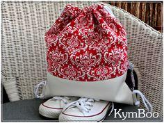 Turnbeutel - ♥ Turnbeutel  Sportbeutel  - Ornamente rot-weiß - ein Designerstück von KymBoo bei DaWanda
