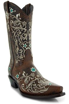 Amazon.com | Soto Boots Women's Jasmine Floral Square Toe Cowgirl Boots M50043 (Tan, 5.5 B(M) US) | Mid-Calf Girl Cowboy Boots, Warm Winter Boots, Snow Boots Women, Pull On Boots, Bearpaw Boots, Calves, Jasmine, Leather, Stuff To Buy