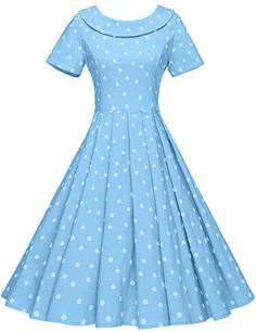 GownTown Women's 1950s Polka Dot Vintage Dresses Audrey Hepburn Style Party Dresses Light Blue Vintage Style Dresses, Vintage Outfits, Vintage Clothing, Audrey Hepburn Style, White Polka Dot Dress, Estilo Retro, Party Fashion, Swing Dress, Dress Making
