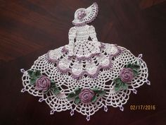 Crinoline Lady Beaded Doily, Antique Colors, Hand Crocheted in Crafts, Handcrafted & Finished Pieces, Needle Arts & Crafts | eBay