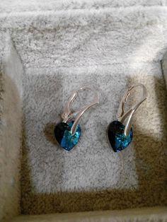 HANDMADE Kira Beatrize: 105. Kolczyki srebrne Bermuda Blue heart mini