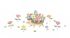 """""""Hedgehog's Mari with Flowers"""" −Atelier RiLi, picture book, illustration, design ___ """"花を飾ったはりねずみのマリ"""" −リリ, 絵本, イラスト, デザイン ...... #illustration #Hedgehog #flower #イラスト #はりねずみ #花"""