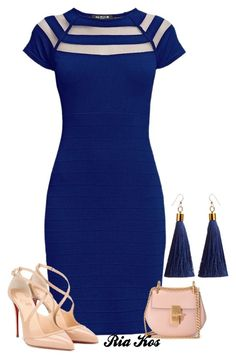 blue dress by ria-kos on Polyvore featuring polyvore fashion style Rumour London Christian Louboutin Chloé clothing