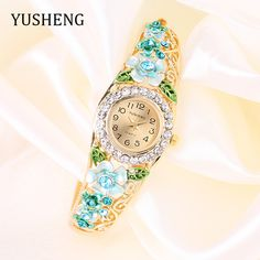 YUSHENG 2017 18K Gold Luxury Women Watch Colorful Abstract Enamel Paint Crystal Rhinestone Bangle Wristwatches Bracelet Watch #Affiliate