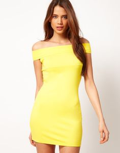 Yellow Off Shoulder High Waist A Line Party Dress | Party dresses ...