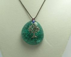 Tree Charm with Teal Cracked Marble on Cotton Cord Cracked Marbles, Jewelery, Cord, Teal, Diy Crafts, Charmed, Pendant Necklace, Cotton, Handmade
