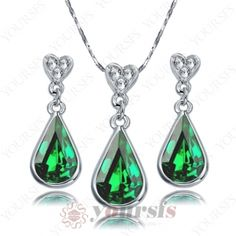 Silver color White Gold Plated green Swarovski Crystal Amethyst Pendant Necklace Sets S356W4