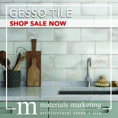 """Gesso Tile! This double-fired ceramic, with manual glazing intervention, will add a contemporary Urban flair to your design. Our wide selection of 4"""" X 8"""" Gesso tiles, available in 18 different color options, are on Sale Now for a limited time. Visit www.Materials-Marketing.com to pick yours out today! #ceramictiles #handcrafted #kitchendecor #kitchenrenovation #kitchendesign #kitchenremodel #kitcheninspiration #kitchenideas #kitcheninspo Kitchen Decor, Kitchen Design, Stone Tiles, Your Design, Kitchen Remodel, Manual, Urban, Ceramics, Marketing"""
