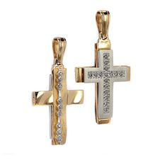 Σταυρός διπλής όψης  δίχρωμος χρυσό Κ14  7963 Jewelries, Symbols, My Love, Glyphs, Icons