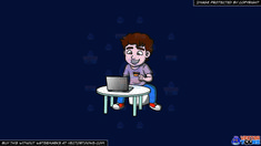 An Excited Man Shopping Online On A Solid Dark Blue 011936 Background :   A man with wavy brown hair wearing a pale lavender shirt denim blue jeans orange with white sneakers grins while sitting on a white stool behind a round table grins while looking at the screen of his gray laptop as left hand holds a gold credit card