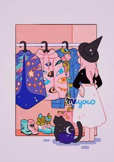 Floral showers and Anime dreams: Meyoco Artist Spotlight Cartoon Kunst, Anime Kunst, Cartoon Art, Anime Art, Arte Do Kawaii, Kawaii Art, Art And Illustration, Aesthetic Art, Aesthetic Anime