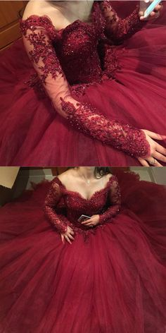 Prom Dresses Ball Gown, Burgundy Lace Appliques Long Sleeves Tulle Ball Gowns Prom Dresses, from the ever-popular high-low prom dresses, to fun and flirty short prom dresses and elegant long prom gowns. Long Prom Gowns, Ball Gowns Prom, Ball Gown Dresses, Prom Dresses, Xv Dresses, Evening Dresses, Short Prom, Sweet 16 Dresses, Elegant Dresses
