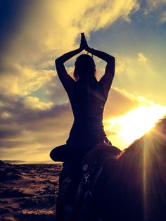 Lotus Meditation with gratitude: Yoga on a horse, on the beach