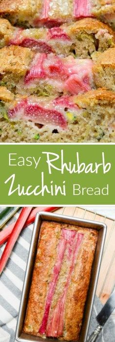 It takes only 10 minutes to get Easy Rhubarb Zucchini Bread in the oven. This sweet recipe has a perfect hint of tartness and is every bit as moist as it looks.   theeverykitchen.com