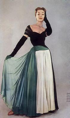 Ivy Nicholson in a Jean Dessès evening gown,1952. Photo by Jesper Hoem.