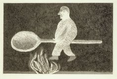 'RIDING AROUND ON A COOKING SPOON' FROM ILLUSTRATIONS FOR SIX FAIRY TALES FROM THE BROTHERS GRIMM 1969, David Hockney