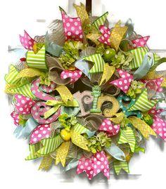 Spring Wreath Easter Wreath Wreath for front door by LisasLaurels