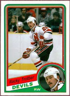 1984-85 O Pee Chee Rocky Trottier, New Jersey Devils, Hockey Cards That Never Were.