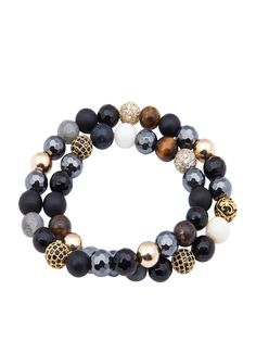 Women's Wrap Around Agate, Matte Onyx & Black CZ Diamonds