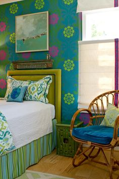 House of Turquoise: Charmean Neithart Interiors //so nice, I found a wallpaper similar to this at http://www.muralsyourway.com/delia-mural/