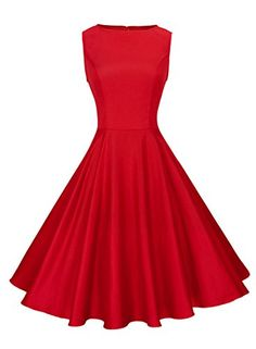Anni Coco Women's Classic Vintage Hepburn Dresses Red Medium Vintage Red Dress, Vintage Dresses, Nice Dresses, Prom Dresses, Summer Dresses, Formal Dresses, Breakfast At Tiffany's Dress, Royal Blue Cocktail Dress, Cocktail Dresses