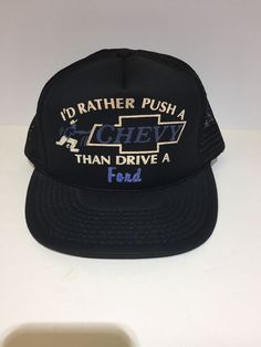 Vintage Id Rather Push A Chevy Than Drive A Ford Trucker Snapback Hat   fashion   2654ed167478