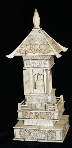 Carved ivory Shinto temple w/ Buddha, ht. 10""