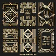 Set of 52 different vintage art deco elements for decoration and design! This vector kit contains 52 elements. This is volume 3 Art Deco Elements. Arte Art Deco, Moda Art Deco, Estilo Art Deco, Art Deco Posters, Retro Posters, Design Art Nouveau, Deco Wedding Invitations, Party Invitations, Jugendstil Design