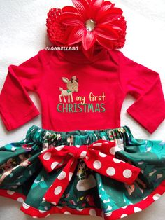 My First Christmas outfit baby girl onesie dress Santa Baby Rudolph Reindeer Frosty snowman skirt newborn 3 6 9 months Red bow headband on Etsy, $29.50