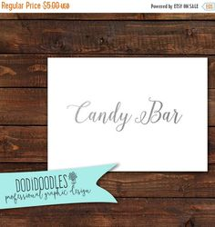 70% CLEARANCE THRU 9/3 Silver Candy Bar Sign 5x7 by dodidoodles