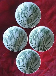 SET OF FOUR ~ Homer Laughlin AMERICANA Green Wheat ~ Dessert ~ fruit Bowls | eBay