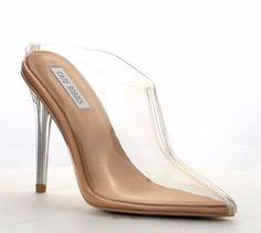 c7383c2865c7 New Clear Transparent High Heel Stiletto Shoes Closed Toe Mule Slide  Pointed Toe  CapeRobbin  Mules  Clubwear
