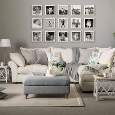 A lounge room of greys and creams, black and white prints all come together to make this a relaxing and peaceful space - love this!