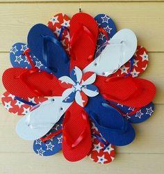 Beautiful Handmade Patriotic Flip Flop Wreath Door Wall Decor White Red Blue 834 #Handmade